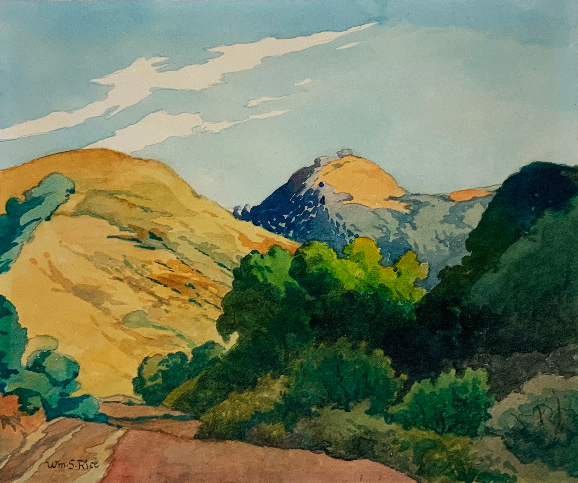 Untitled (Bay Area Hills), William S. Rice (1873-1963), n.d. watercolor on paper, 13 x 15 5/8 inches. Collection of Saint Mary's College Museum of Art Permanent Collection [2006.7.2]