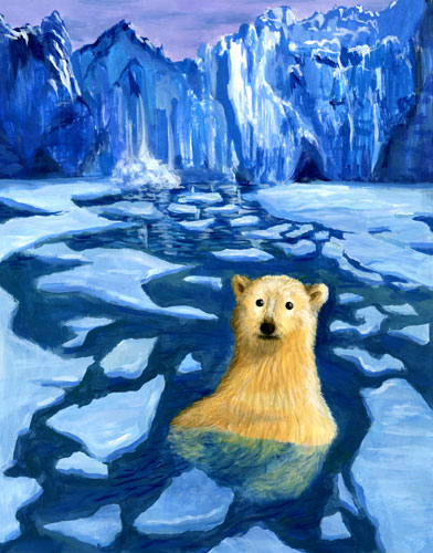 Polar bear in Arctic sea surrounded by ice floats. Glaciers can be seen in the background.