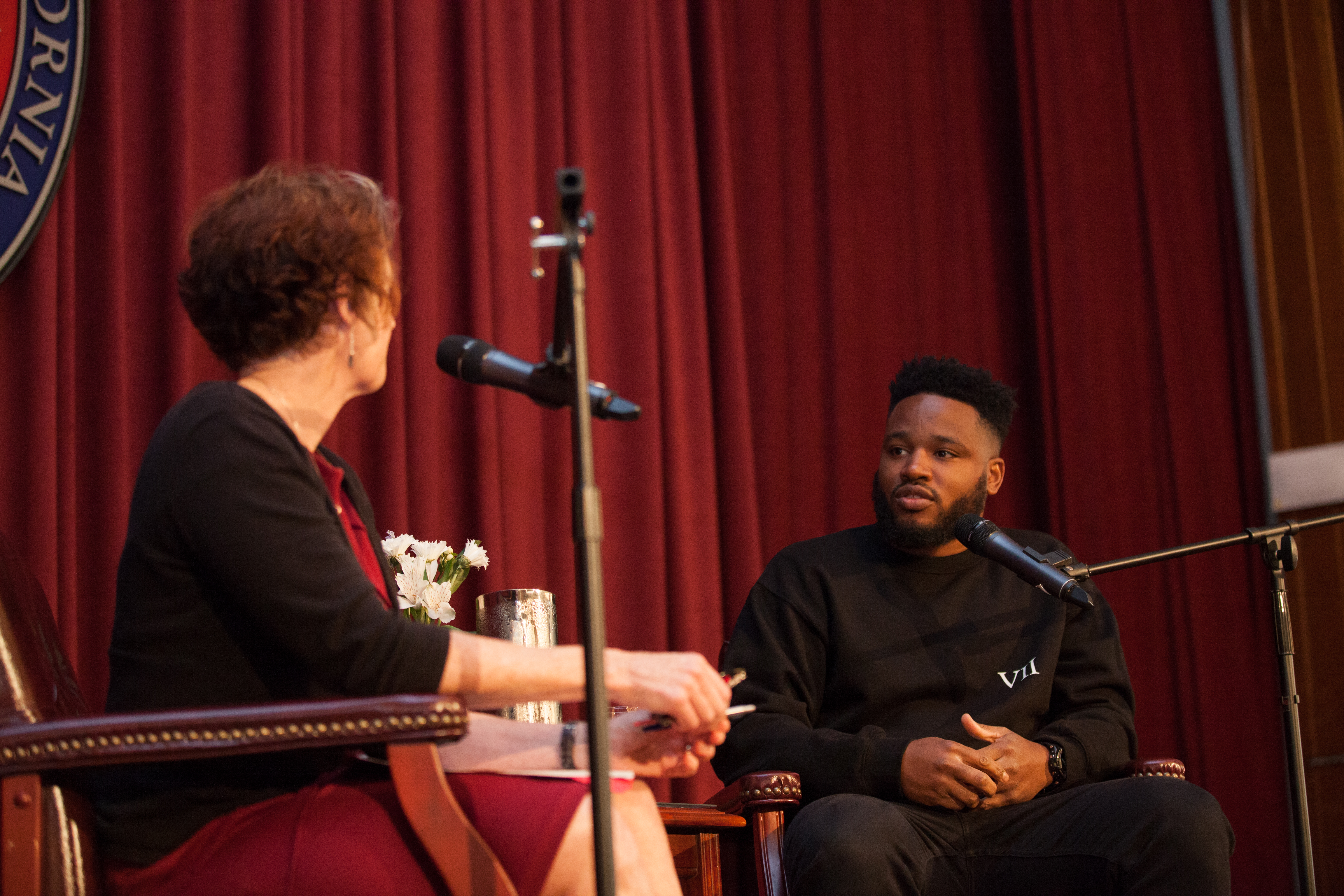 Acclaimed film director, screenwriter and former Saint Mary's student Ryan Coogler sat down for a conversation with his former English Professor Rosemary Graham in the Soda Center on Wednesday, May 16, 2018.
