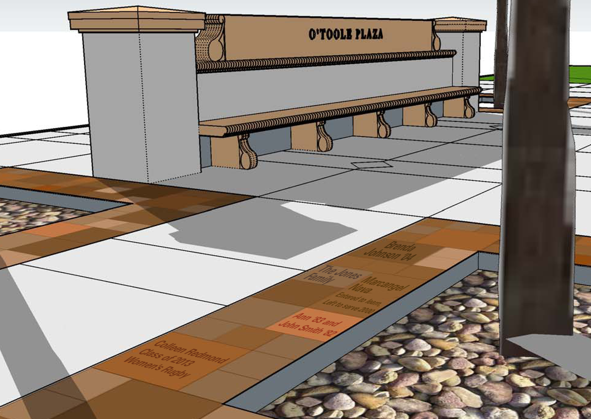 Illustration of pavers around the recreation center.