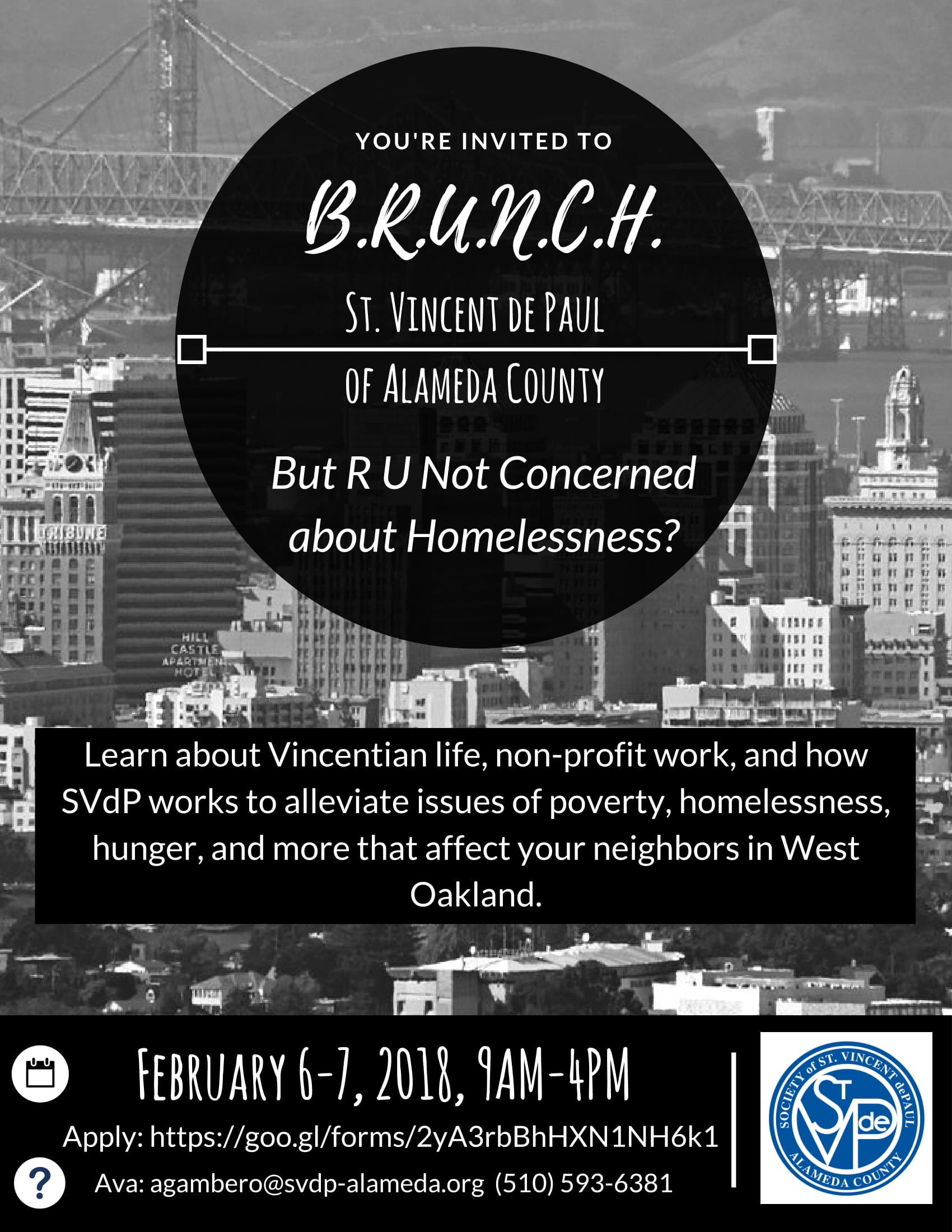 BRUNCH flyer for West Oakland immersion