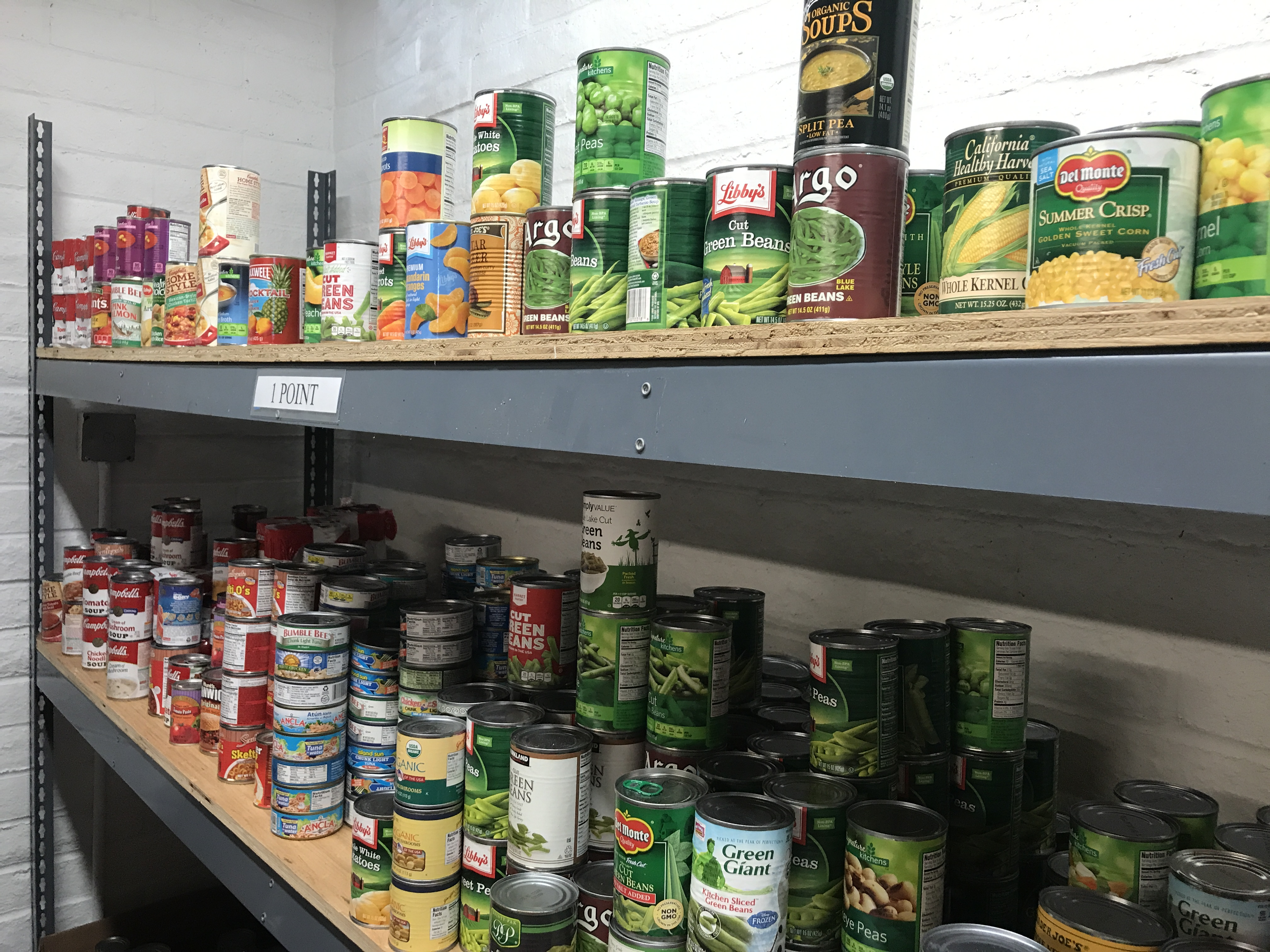 gael pantry shelves filled with canned vegetables and fruit