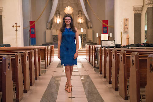 Rosemary Cook '17 stands in the Chapel.