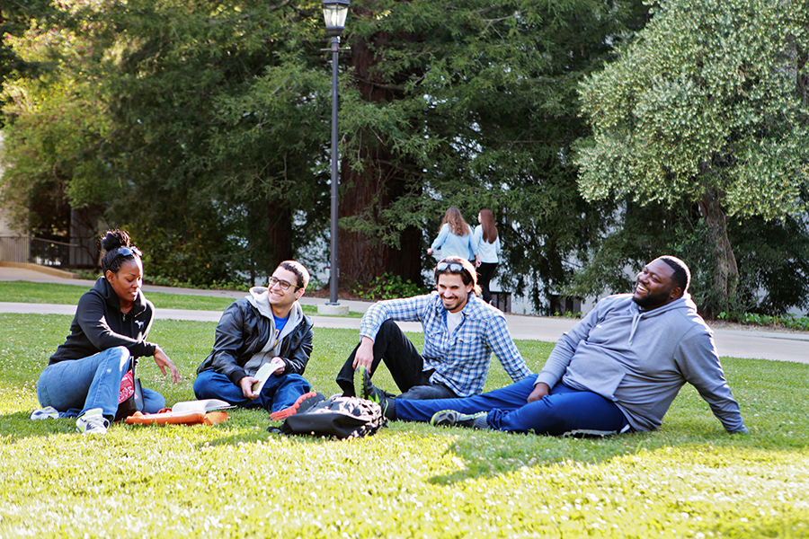 Students on grass