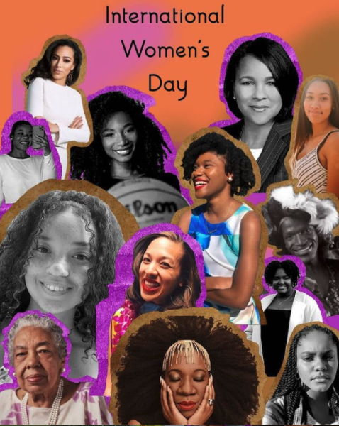 """BSU generated image of Black women with the words """"Happy International Women's Day"""""""