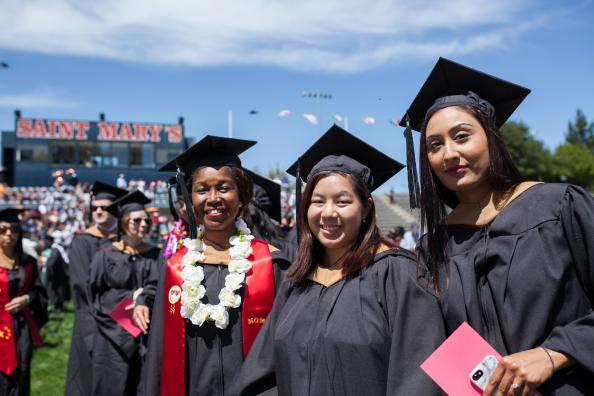 Students celebrate completing their academic journey at Saint Mary's 2018 Graduate and Professional Studies Commencement ceremony.