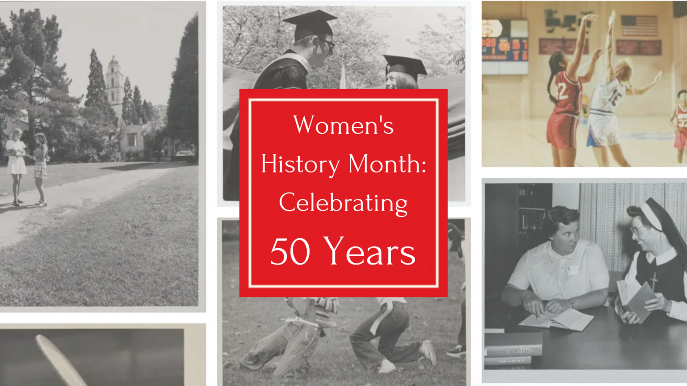 Image of women at SMC over the last 50 years, with SMC red square stating: Women's History Month: Celebrating 50 years
