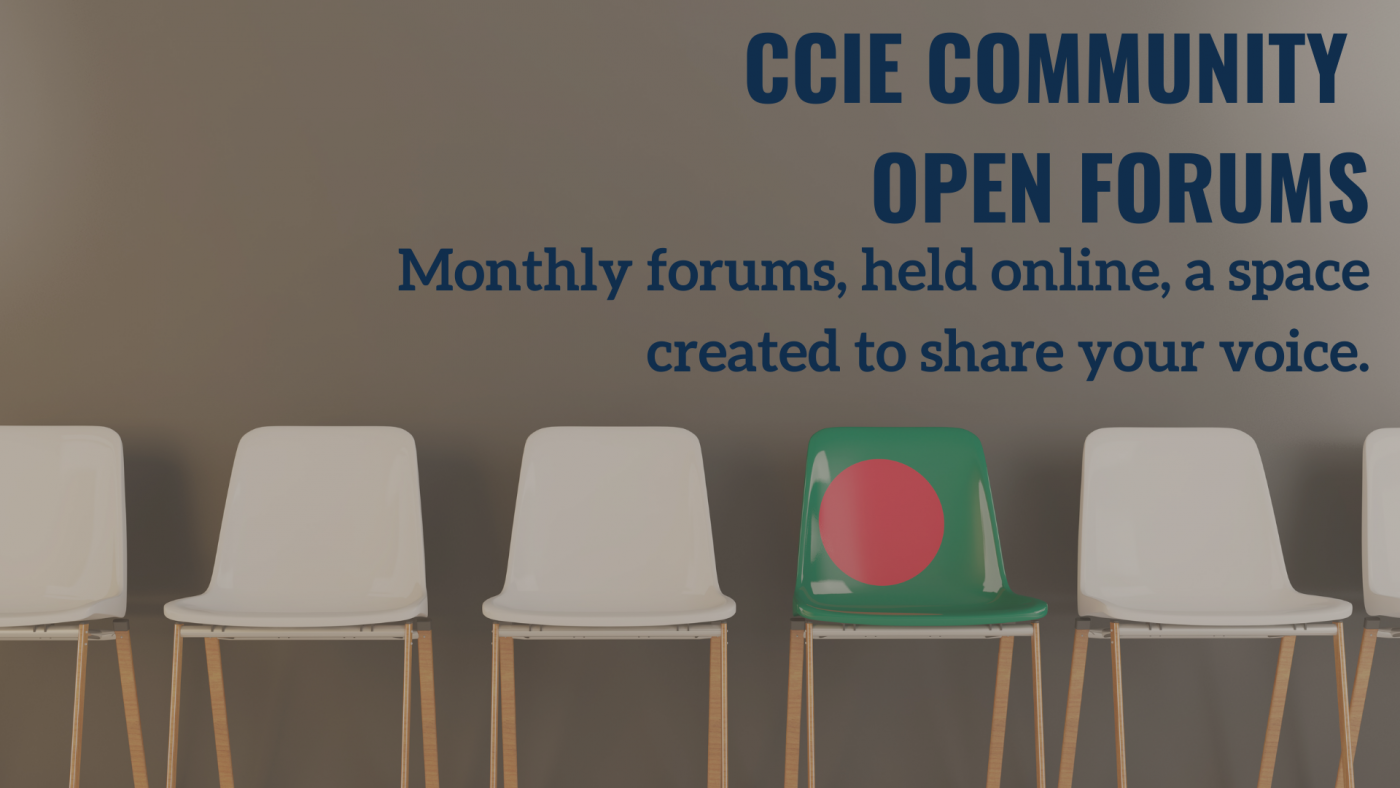 chairs in a row, one is green with a dot, text reads CCIE Community Open Forum Monthly forums, held online, a space created to share your voice.