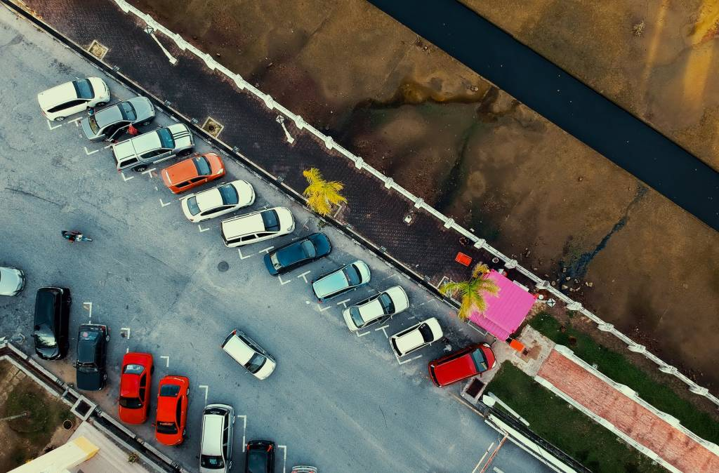 Arial View of Cars parked