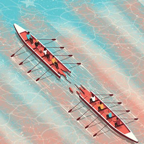 A canoe splits into two pieces with people rowing.
