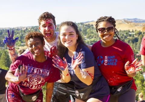 SMC students enjoying the day during the 2018 Paint the SMC Weekend of Welcome Celebration.