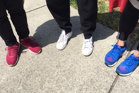 SMC students' shoes with SMC colors - red white and blue
