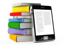 Picture of a stack of books and a book in electronic format propped up next to the real books