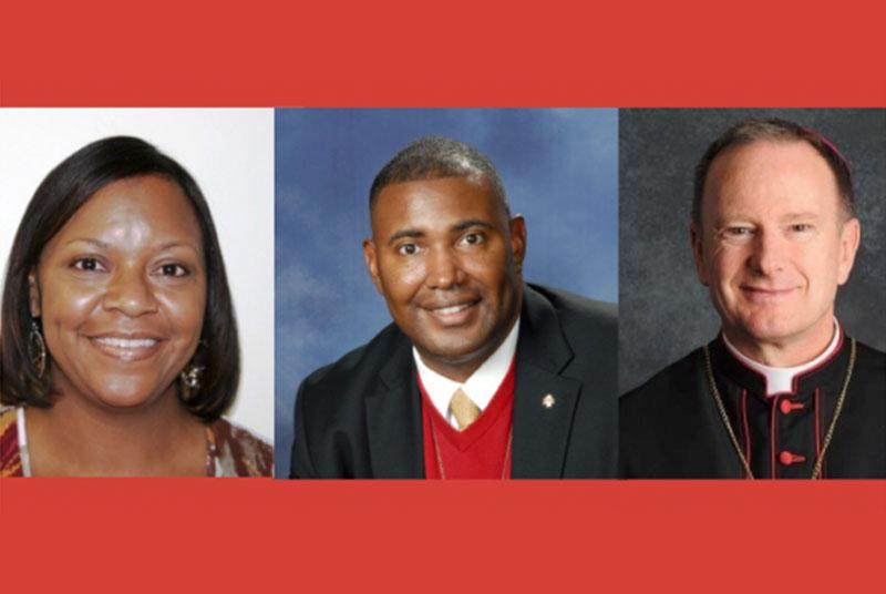 Most Reverend Michael C. Barber, S.J., Bishop of Oakland, California; Pam Harris, Director of the Office of Ethnic Ministries, of the Diocese of Columbus, Ohio; DeKarlos Blackmon, Director of the Secretariat of  Life, Charity and Justice, of the Diocese of Austin, Texas