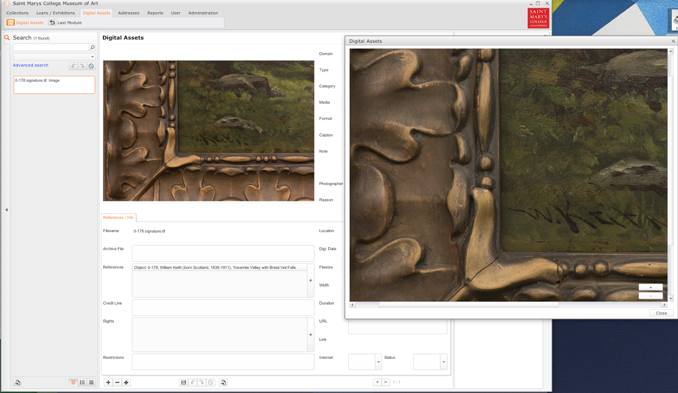 Close view of database, including frame and signature detail.