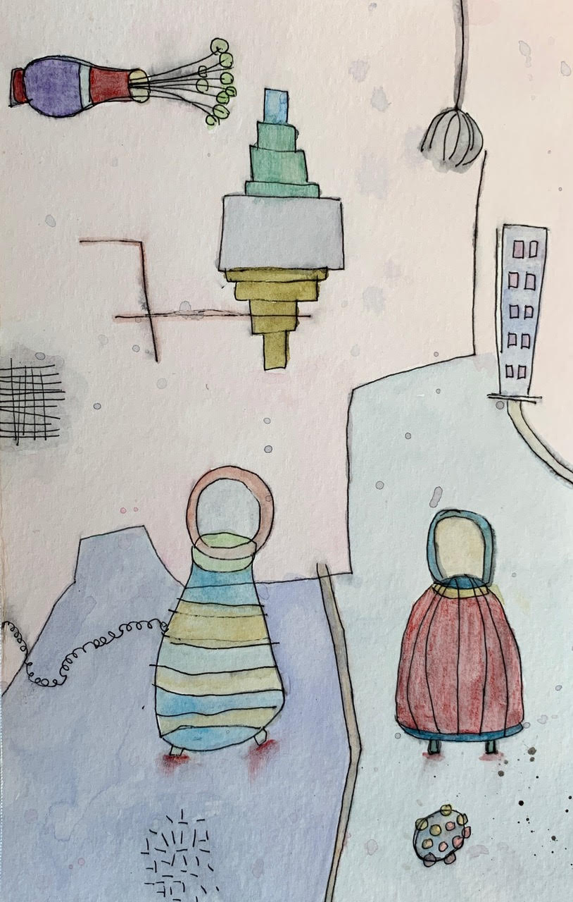 Lynn Beldner, It's Gonna Be Okay, watercolor and ink on paper, 8 ½ x 51/2 inches, November 6, 2020, Gift of the Artist, Saint Mary's College Museum of Art Permanent Collection [2021.2]